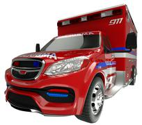 Emergency services vehicle: wide angle view of on white Stock Illustration