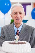 senior man not remember how old - stock photo