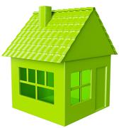 Realty and real assets: green house isolated Stock Illustration