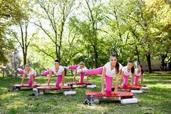 aerobic class - stock photo