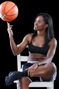 basketball player have fun with ball - stock photo