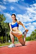 young athlete woman exercising - stock photo