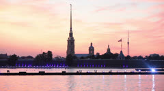 Peter and Paul fortress in sunset lights at white nights - stock footage
