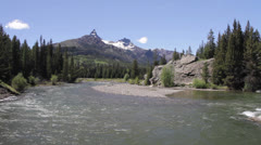 Clarks Fork river with Pilot and Index Peak - stock footage