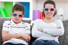 Kids watching  the 3d movie Stock Photos