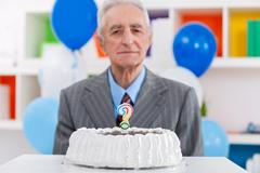 Senior man does not know how old Stock Photos