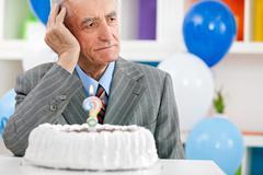 senior man forgot how old is - stock photo