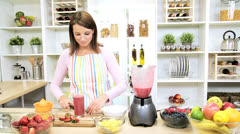 Healthy Female Kitchen Glass Delicious Fruit Smoothie - stock footage
