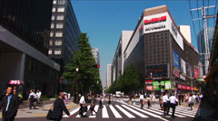 Tokyo, Japan - Hibiya 4. Pedestrian at intersection in Hibiya district  Stock Footage