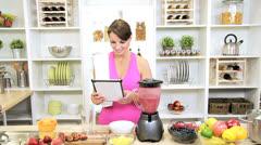 Health Club Female Tablet Recipe Blending Organic Fruit Drink Stock Footage