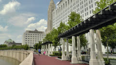 Scioto mile rivewalk in Columbus, Ohio Stock Footage