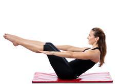 woman doing pilates training - stock photo