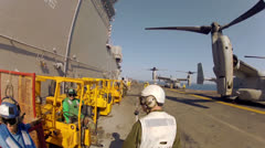 POV - Soldiers On Flight deck 02 Stock Footage