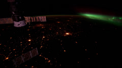 Aurora (northern lights) over Eastern U.S. from the International Space Station Stock Footage