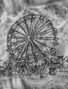 Abstract black and white ferris wheel Stock Illustration
