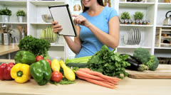 Girl Using Online Technology Healthy Eating Diet Stock Footage