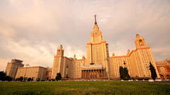 Morning Moscow State University grass slider Stock Footage