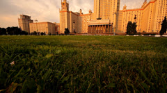 Stock Video Footage of morning Moscow State University grass slider