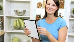 Caucasian Girl Using Recipe Wireless Tablet Healthy Living Stock Footage