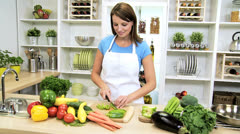 Young Female Preparing Healthy Organic Vegetables - stock footage