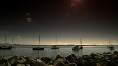 Sailboats in Rocky San Diego Harbour HD Video Stock Footage