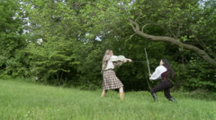 Sword Fight 01 LS Stock Footage