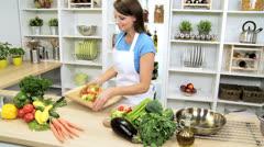 Brunette Girl Kitchen Preparing Fresh Vegetarian Meal - stock footage