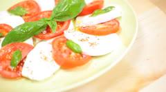 Fresh Vegetarian Meal Buffalo Mozzarella Tomato Basil Salad Stock Footage