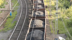 The railway. Transportation of coal by rail - stock footage