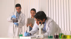 Hispanic scientists doing research in the lab - stock footage