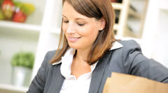 Close Up Business Lady Unpacking Shopping Bag Fruit - stock footage