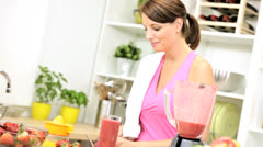 Young Workout Female Homemade Fruit Smoothie Stock Footage