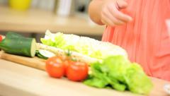 Close Up Healthy Lifestyle Fresh Salad Meat Baguette - stock footage