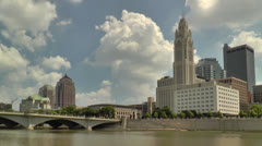 Columbus Skyline from west side of Scioto River Stock Footage