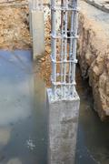 Cement pillar in construct site Stock Photos