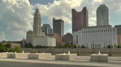 Columbus Skyline seen from COSI Stock Footage