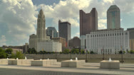 Stock Video Footage of Columbus Skyline seen from COSI