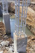 cement pillar in construct site - stock photo