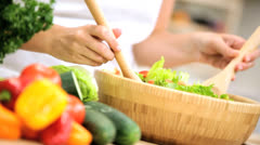 Hands Girl Preparing Salad Ingredients Healthy Lifestyle Stock Footage