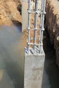Cement pillar in construct site Stock Photos