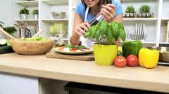 Healthy Caucasian Girl Buffalo Mozzarella Tomato Basil Salad - stock footage