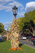 autumn street scene - stock photo