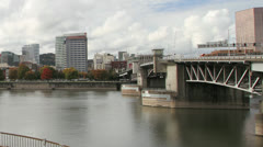 Portland OR Skyline Waterfront with Bridges Time Lapse 1080p Stock Footage