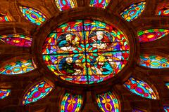 gospel writers mark matthew luke stained glass cathedral of saint mary of the - stock photo
