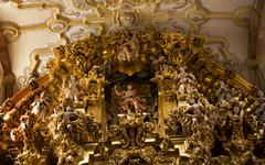 close up golden altar valencia church guanajuato mexico - stock photo
