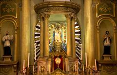 Gold altar, statues, basilica, guanajuato, mexico Stock Photos