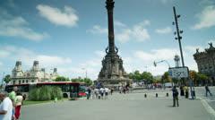 Stock Video Footage of urban barcelona colon tourists vacation landmark