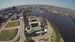 Canadian Parliament Hill Ottawa Aerial With View of Hull/Gatineau Stock Footage