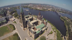 Canadian Parliament Hill Ottawa Aerial With View of Gatineau Stock Footage