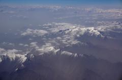 aerial view of karakoram mountains of sinkiang, china - stock photo